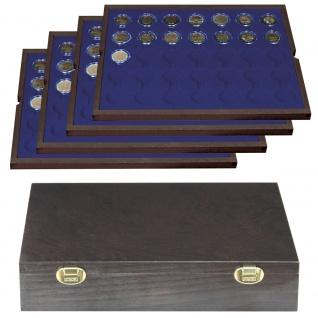 LINDNER 2494-11M CARUS-4 Echtholz Holz Münzkassetten 4 Tableaus blau 140 Fächer Münzen bis 32 x 32 mm 2 Euro in Münzkapseln 26 - Vorschau 2