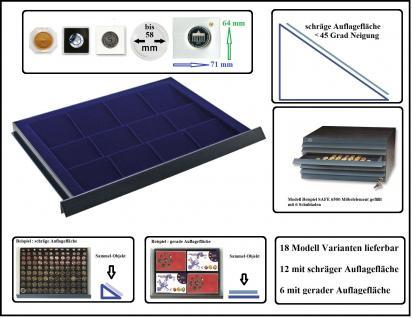 SAFE 6572 Schubladen für SAFE 6500 mit schräger Auflagefläche blaue Einlage 16 eckige Fächer 71 x 64 mm mm - Ideal für 10 DM in Blisterfolie PP - Münzrähmchen 50x50 mm- Octo - Carree - Quadrum Münzkapseln