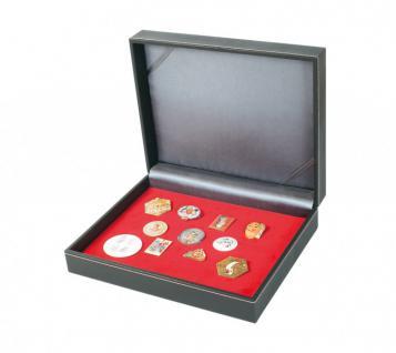 LINDNER 2368-2417E NERA VARIUS Sammelkassetten mit Hellrot Rot Samteinlage ohne Facheinteilung Für Militaria Pins Orden Anstecknadel