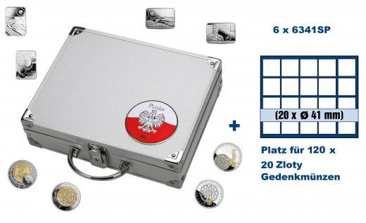 SAFE 244 - 6341 ALU Münzkoffer SMART Polen / Polska mit 6 Tableaus 6341 für 120 - 20 Zloty Gedenkmünzen - Polskie monety okolicznoÅ>ciowe