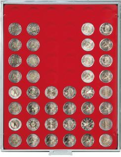 LINDNER 2154 MÜNZBOXEN Münzbox Münzenboxen Standard 25, 75 mm 54 x 2 EURO Münzen - Vorschau 1