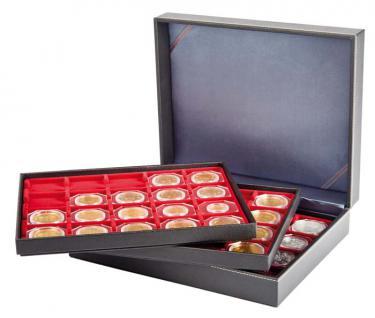 LINDNER 2365-2122E Nera XL Münzkassetten Einlage Hellrot Rot 60 Fächer 50 x 50 mm Münzrähmchen Octo Carree Quadrum Münzkapseln