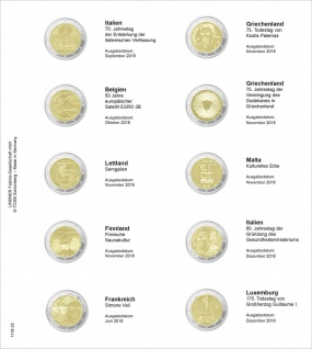 1 x LINDNER 1118-25 Vordruckblatt + K3 Karat Blatt 2 EURO Gedenkmünzen Italien - Luxemburg 2018
