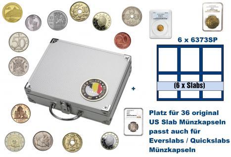 SAFE 239 ALU Länder Münzkoffer SMART Belgien / Belgique / Belgie / Belgium 6 Tableaus 6373SP für 36 original US Slab Münzkapseln & Eversalbs & Quickslab Münzkapseln