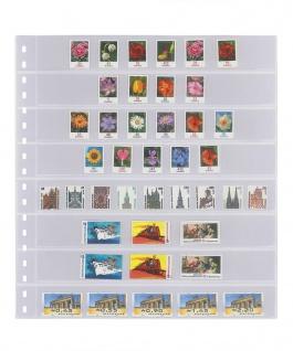 10 x LINDNER 828P Klarsichthüllen 8 waagerechte Streifen 30x242 mm Für Rollenmarken