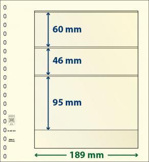 10 x LINDNER 802302P T-Blanko-Blätter Blankoblatt 18-Ring Lochung - 3 Taschen 60 / 46 / 95 x 189 mm