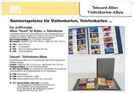 SAFE 7581-BR Telecard Telefonkartenalbum Braun mit 5 x 7564 Ergänzungsblättern für 40 Telefonkarten - Vorschau 2