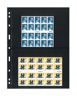 5 x LINDNER 072 UNIPLATE Blätter, schwarz 2 Streifen / Taschen 128 x 194 mm Für Gr. Belege Briefe Blocks Banknoten