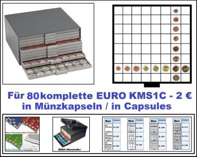 SAFE 6158-1 Beba Münzkasten Maxi mit 10 Schubern 6108 Platz für 80 komplette Euro Kursmünzensätze KMS von 1 , 2, 5 , 10 , 20 , 50 Cent & 1 , 2 Euro in Münzkapseln