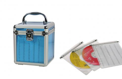 SAFE 171 ALU Koffer CD Acryl Blau Blue Star Für 80 CD's DVD Blue Ray Datenträger in Hängeregistertaschen