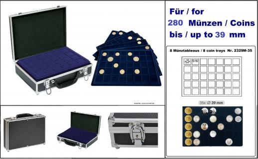 LINDNER 2338M-280 MÜNZKOFFER Black Alu Design + Schwarzem Velour Innen mit 8 blaue Tableaus 2329-35 Für 280 Deutsche 10 - 20 Euro Gedenkmünzen in Münzkapseln 32, 5 - 32, 5 PP - 33 mm