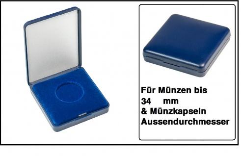 Lindner 2029-034 Blaues Kunststoff Münzetui mit blauer Veloureinlage Für Münzen / Münzkapseln bis 34 mm