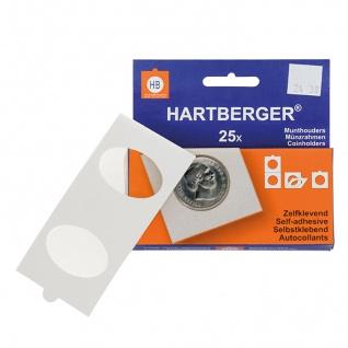 25 x HARTBERGER Münzrähmchen mit ovalem Ausschnitt 38x24 mm für Pressed Pennies, selbstklebend