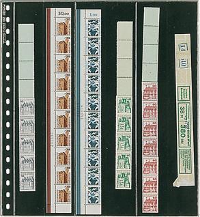 10 x LINDNER 836P Klarsichthüllen Schwarz 6 senkrechte Streifen 38 x 290 mm Für Rollenmarkenstreifen