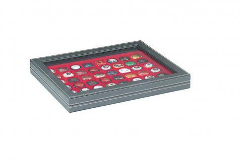 LINDNER 2367-2148E Nera M Sammelkassetten Hellrot Rot + Sichtfenster 48 Fächer 30x30 mm Für 48 Champagnerdeckel Champagnerkapseln