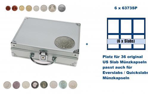 SAFE 235 - 6373 ALU Länder Münzkoffer SMART BR. Deutschland & 5 DM 3 D Plakette mit 6 Tableaus 6373SP für 36 original US Slab Münzkapseln & Eversalbs & Quickslab Münzkapseln