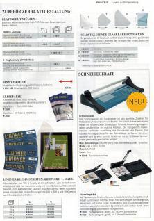 10 x LINDNER 802 Karton Blanko Blätter PERMAPHIL Weiß Schwarze Umrandunsglinie 193 x 251 mm Format 18-Ring Lochung 272 x 296 mm - Vorschau 5
