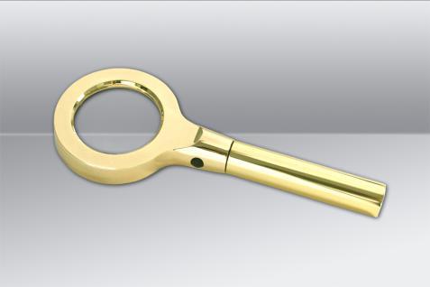SAFE 4652 Gold Design Leuchtlupe Stiellupe Lupe mit 8 LED 2, 5x fache Vergrößerung + Etui + Batterien