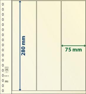 10 x LINDNER 802121P T-Blanko-Blätter Blankoblatt 18-Ring Lochung 3 Taschen 280 x 75 mm senkrecht Idel für Rollenmarken - Rollenstreifen