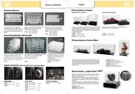 """SAFE 5285 Acrylglas Präsentations Vitrinenwürfel Deko Aufsteller Würfel Universal """" CUBE G """" Glasklar 70 x 150 x Höhe 80 mm Für Modellbau Autos KFZ Mini Trucks - Vorschau 4"""