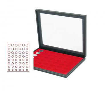 LINDNER 2367-2506E Nera M PLUS Münzkassetten Einlage Hellrot Rot mit glasklarem Sichtfenster für komplette 6 Euro Kursmünzensätze KMS 1 Cent - 2 Euro