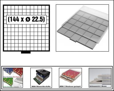 SAFE 6612 BEBA MÜNZBOXEN Standard Grau 144 quadratische Fächer 22, 5 mm Ideal für 1, 2, 5, 10, 20 Euro Cent & bis Münzkapseln 16, 5 mm