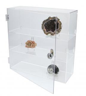 SAFE 5247 Grosse Acrylglas Design Viitrinen Setzkasten Box 320 x 320 x 110 mm 3 Ebenen abschließbar Universal Für Mineralien - Fossilien - Bernstein - Muscheln & Schnecken - Kristallej