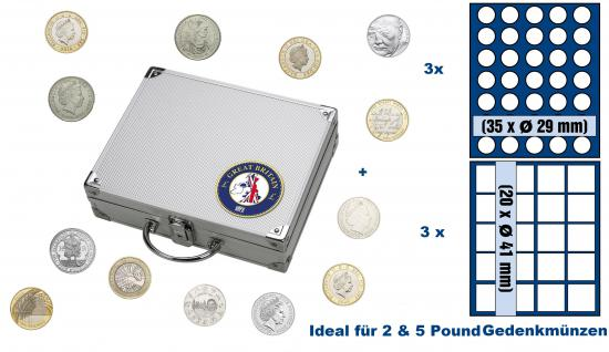 SAFE 246 ALU Länder Münzkoffer SMART Grossbritannien / Great Britain / United Kingdom / England mit je 3 Tableaus 6329SP & 6341SP für 165 2 & 5 Pound / Pfund Gedenkmünzen der Royal Mint of England