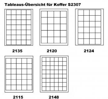 LINDNER S2307-S2115CE MÜNZKOFFER im ALU Design + 6 schwarzen Tableaus S2115CE für Münzen bis 38 mm & Münzkapseln bis 32, 5 mm (Innen) - Ideal für 5 - 10 DM & 10 - 20 Euro Gedenkmünzen in Münzkapseln 29, 5 - 32, 5 PP - Vorschau 4