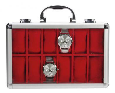 3 x SAFE 265 ALU Uhrenkoffer KLASSIK ROT - BLAU - WEISS - 36 Fächer Uhrenhaltern Fenster Schmuck Armbanduhren - Vorschau 3