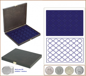 LINDNER S2491-2537ME CARUS-1 Echtholz Holz Münzkassetten Blau 30x runde Fächer 37, 5 mm Für Deutsche 10 & 20 Euro Münzen in Münzkapseln 32, 5 PP randlos