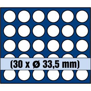 1 x SAFE 6342 SP Tableaus / Einsätze SMART mit 30 runden Fächern 33, 5 mm ideal für 5 Euro Münzen Blauer Planet 2016 - 2021 in Münzkapseln 27, 5 mm