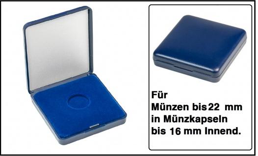 Lindner 2029-022 Blaues Kunststoff Münzetui mit blauer Veloureinlage Für Münzen / Münzkapseln bis 22 mm