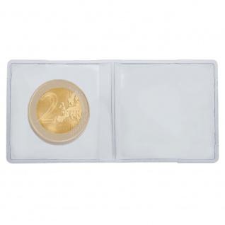 100 LINDNER 4019 Doppelmünzhüllen Doppel Münztaschen Münzenhüllen aus PVC klare Folie für Münzen bis 30 mm