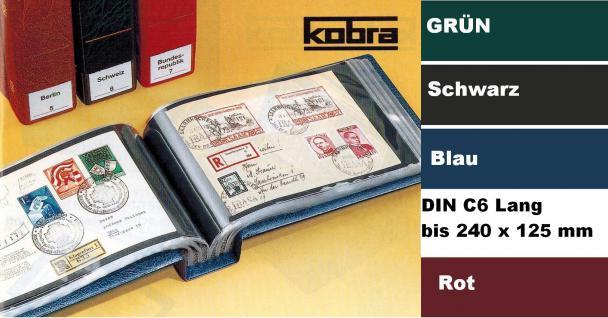 KOBRA G5 Schwarz Universal Briefealbum Sammelalbum Album DIN C6 Extra Lang 240 x 125 mm Für 100 Fotos Bilder Briefe FDC Ansichtskarten Postkarten Geldscheine Banknoten
