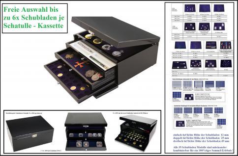SAFE Set 6590 Schubladen Schatulle Classic KABINETT Kassette bis zu 6x Schubladen FREIE WAHL Für Münzen - Schmuck - Ringe - Mineralien - Muscheln - Militaria - Orden - Buttons - Pins