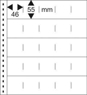 1 x LINDNER 054 Omnia Einsteckblätter schwarz 25 Taschen 46 x 55 mm Für 50 Markenheftchen - Vorschau 2