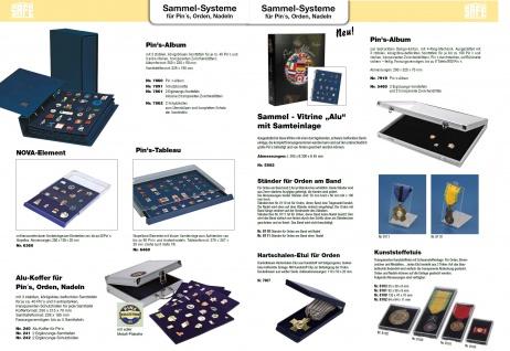 SAFE 7860 Compact Pin's & Sticker Sammelalbum 3 Samttafeln für bis zu 120 Pins Anstecknadeln Button - Vorschau 4