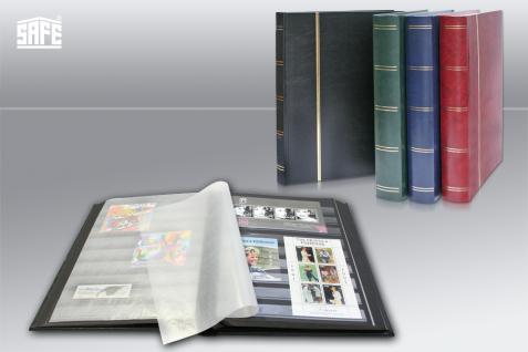 SAFE 155-1 Briefmarken Einsteckbücher Einsteckbuch Einsteckalbum Einsteckalben Album Weinrot - Rot wattiert 64 schwarze Seiten - Vorschau 2