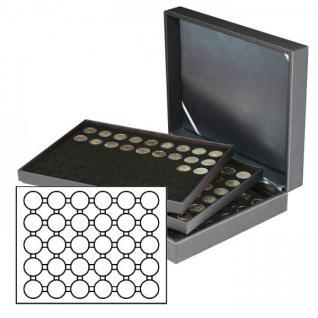 LINDNER 2365-2226CE Nera XL Münzkassetten mit 3 Einlagen Carbo Schwarz für 90 x Münzen bis 39 mm & 10 & 20Euro DM in Münzkapseln 33 mm