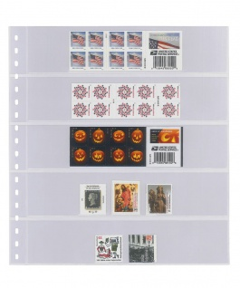 10 LINDNER 825P Klarsichthüllen mit 5 Streifen 242 x 50 mm Für Briefmarken Markenheftchen