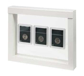 LINDNER 4851 NIMBUS 230 Weiss Sammelrahmen Schweberahmen 3D Für Münzen & US Slab Münzkapseln