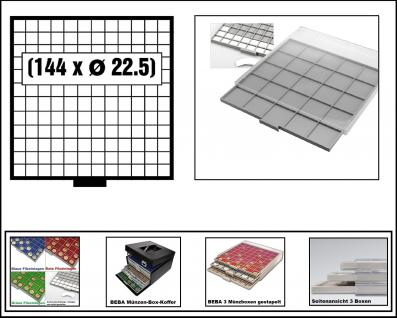 SAFE 6612-6 BEBA MÜNZBOXEN 144 quadratische Fächer 22, 5 mm + weiße Kartoneinlagen Ideal für 1, 2, 5, 10, 20 Euro Cent & bis Münzkapseln 16, 5 mm