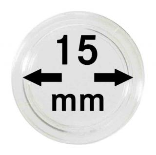 100 LINDNER Münzkapseln / Münzenkapseln Capsules Caps 15 mm 2251015