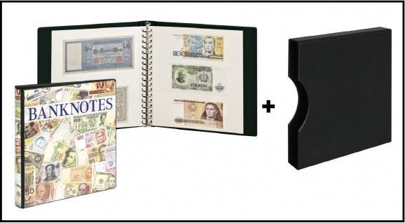 LINDNER 3701W-814 Banknotenalbum mit 10 Klarsichthüllen Mix 830 & 831 mit weißen Zwischenblättern + Kassette