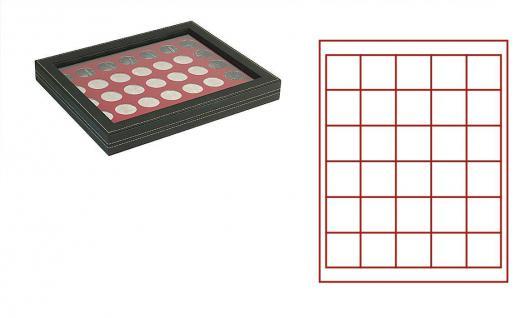 LINDNER 2367-2715E Nera M PLUS Münzkassetten Einlage Dunkelrot Rot mit glasklarem Sichtfenster 30 Fächer für Münzen bis 38x 38 mm - Kanada Dollar Maple Leaf
