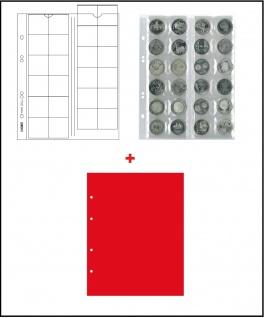 10 x LINDNER MU24R Multi Collect Münzblätter Münzhüllen 24 Taschen für Münzen bis 34 x 34 mm + roten ZWL Ideal für 5 - 10 - 20 Euro / DM