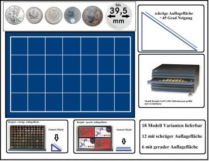 SAFE 6545 Schubladen für SAFE 6500 mit schräger Auflagefläche blaue Einlage 28 eckige Fächer 45 mm - Ideal für US Silver Eagle, Maple Leaf Dollar, 5 Mark Kaiserreich , 12 Euro Spanien & Münzkapseln bis 39, 5 mm