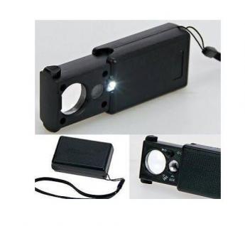 SAFE 4631 Taschenlupe Schiebelupe Lupe 30x & 60x fache Vergrößerung + LED + UV Licht + Batterien