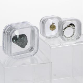 5 x SAFE 4530 SCHWEBEDOSEN Schwebe-Dosen Box 3D Glasklar 39x39x19 mm Für Perlen Mineralien Fossilien Edelsteine